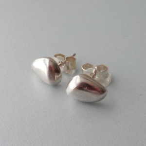 Silver Pebble Stud Earrings