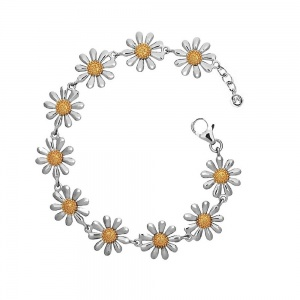 SILVER DAISY BRACELET WITH 18CT GOLD PLATED CENTRES (13MM)