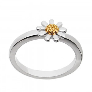 SILVER MINI DAISY RING WITH 18CT GOLD PLATED CENTRE (7MM DAISY)