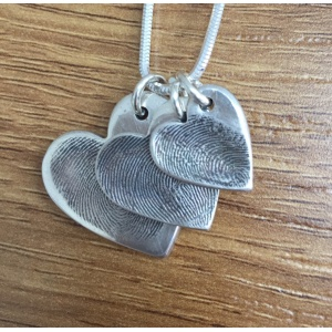 Silver Triple Heart Fingerprint Charm