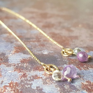 AMETHYST SOLID GOLD THREADER EARRINGS