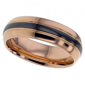 18K Red Gold and Black Zirconium Wedding Ring