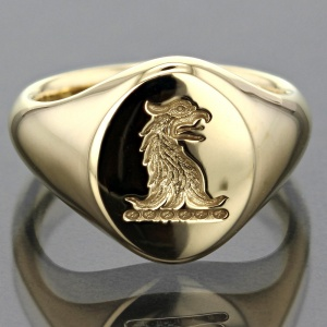 3D Laser Engraved Gold Signet Ring