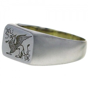 Silver Griffin Signet Ring
