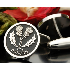 Scottish Double Thistle Entwined Silver Cufflinks