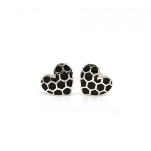 Queen of Hearts Silver Ear Studs