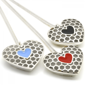 Queen of Hearts in Heart Silver Pendant