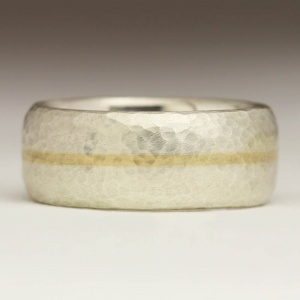 Silver Ring with Yellow Gold Inlay