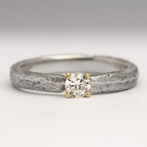 Handmade Sand Cast Palladium and Diamond Ring