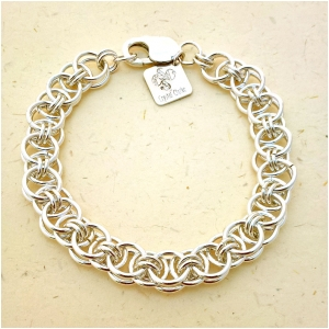 Sterling Silver Bracelet. Hand woven Chainmaille. Fully Hallmarked.