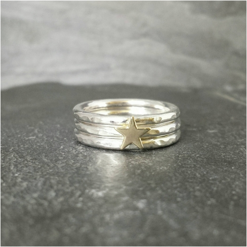 Silver Stacking Rings With Gold Star