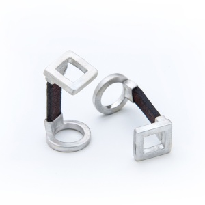 Silver and Leather Square Cufflinks