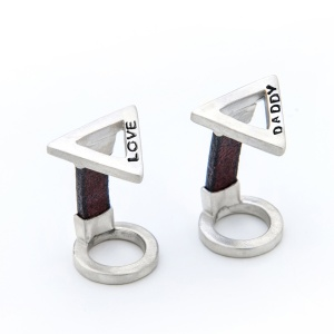 Silver and Leather Triangle Cufflinks