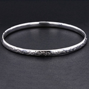 'D' Shape Textured Silver Bangle